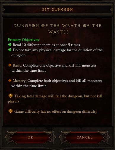 Set Dungeon Objectives